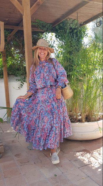 Victoria Durrer-Gasse modelling the blue pink floral Frill Dress