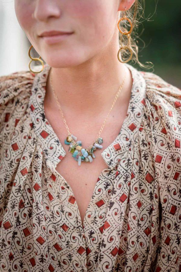 semi precious stones on a gold chain