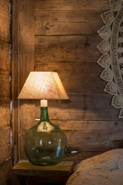 Damajuana or demijohn green glass bottle lamp