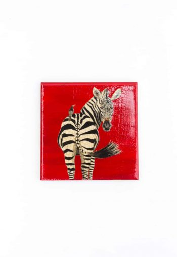 zebra decoupage coaster