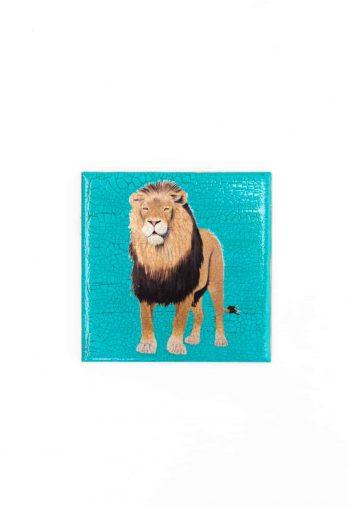 lion decoupage coaster