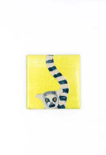 lemur decoupage coaster