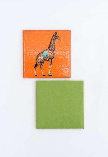 giraffe decoupage coaster with felt back