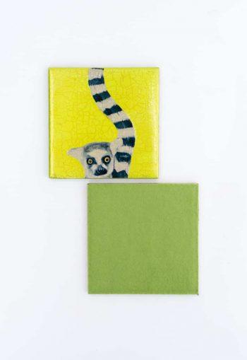 lemur decoupage coaster with felt back