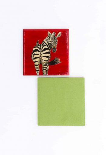 zebra decoupage coaster with felt back