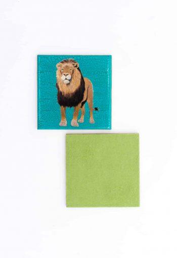 lion decoupage coaster with felt back