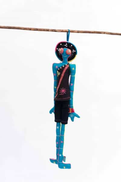 Blue cotton stuffed doll with embroidery