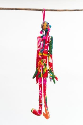 colourful cotton doll handmade and hand appliquéd