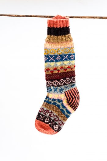 Woolly winter socks with peach toes