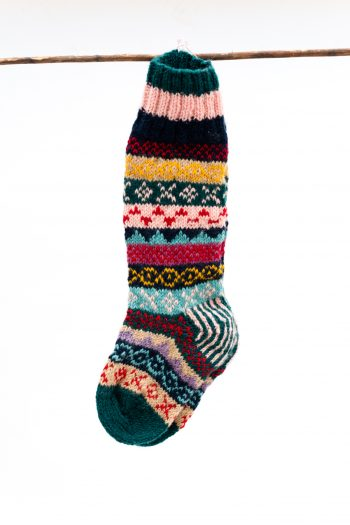 Woolly winter socks with teal toes