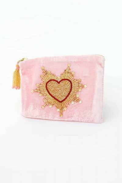 OD Pink Velvet Heart Purse