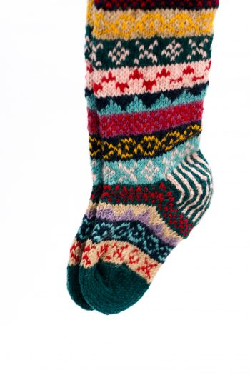 Multicoloured hand kitted socks with teal toes