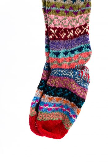 Cosy woolly hand knitted socks with red toes