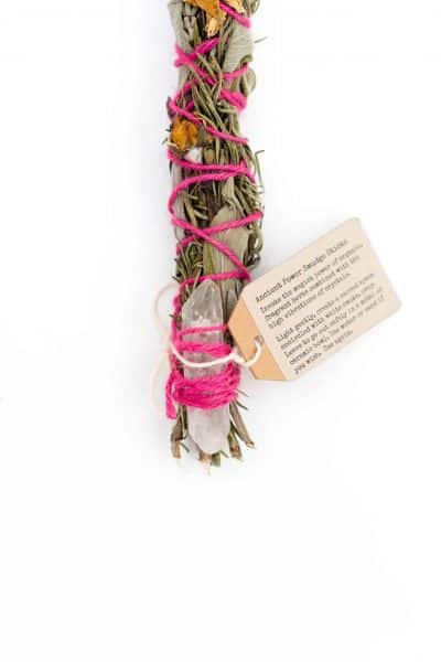 Herb smudge stick with pink wool