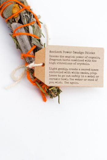 Herb smudge stick with orange wool