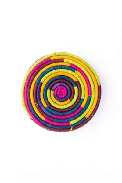 round rainbow coloured placemats