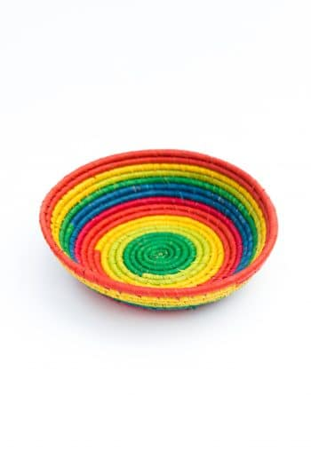 circular basket in rainbow colours