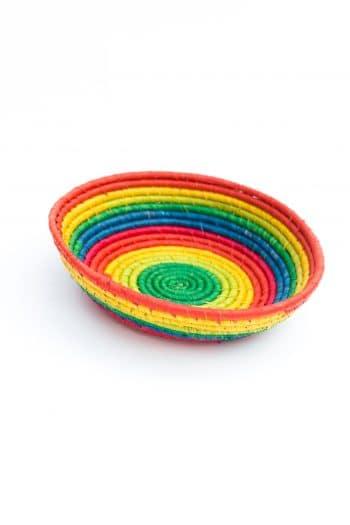 rainbow coloured round basket