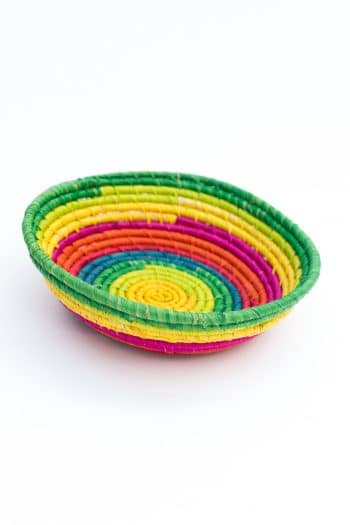 round basket in rainbow colours