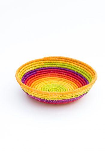 brightly coloured raffia basket