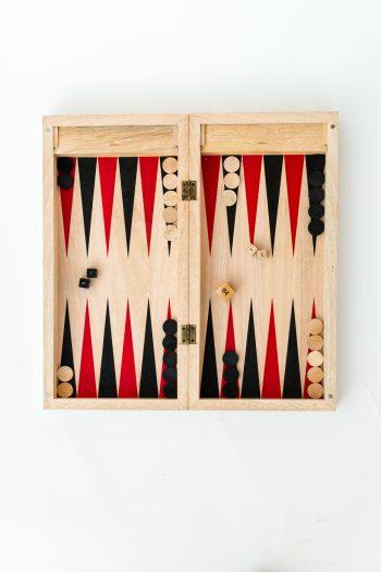 Wooden backgammon board open