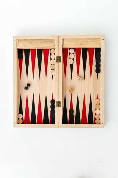 Wooden backgammon board open