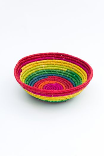 small raffia basket in bright colours