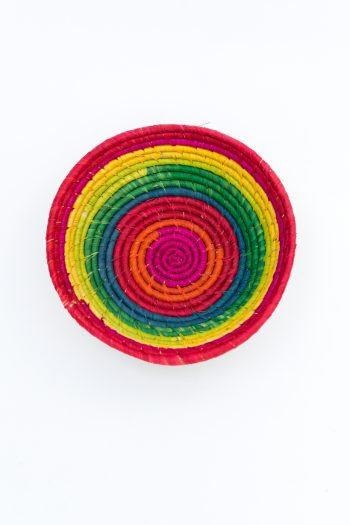 raffia basket in rainbow colours
