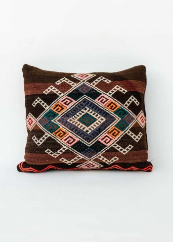 brown kilim cushion with pretty embroidery