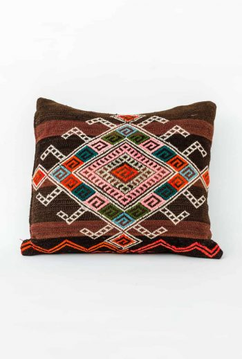 striped cushion with geometric embroidery