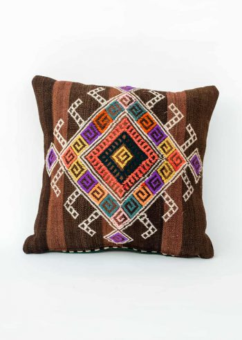 hand embroidered cushion with colourful embroidery