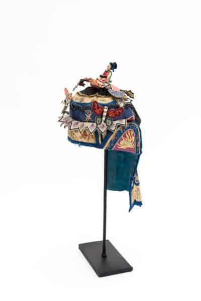 Child's Chinese headdress with colourful embroidery