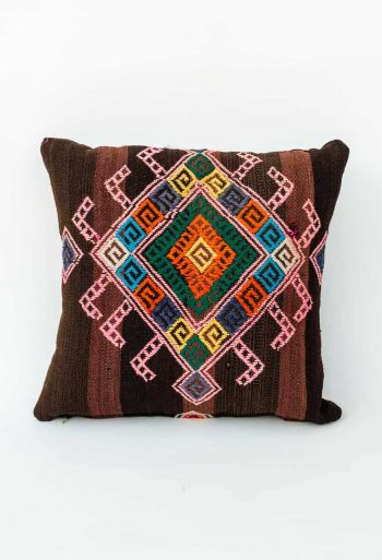 brightly coloured kilim cushion