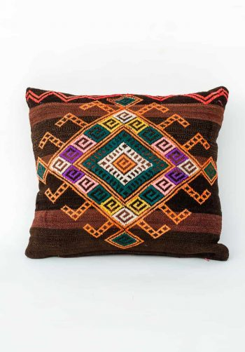 two tone brown striped cushion with geometric embroidery