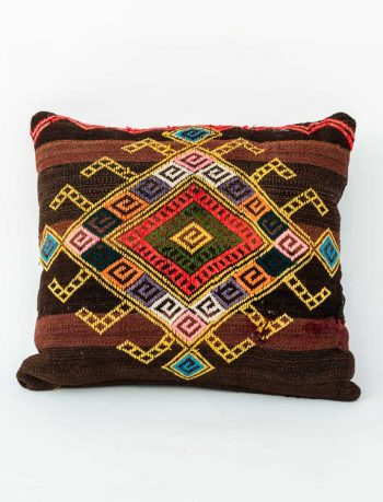 two tone brown striped cushion with colourful embroidery
