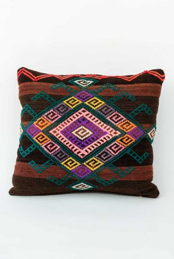 Geometric embroidered cushion