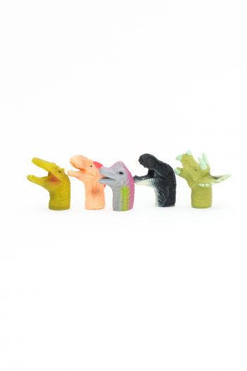 Finger puppets in the shape of dinosaur heads