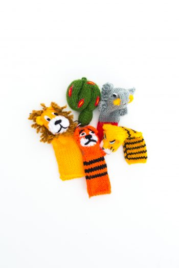 hand knitted animal finger puppets
