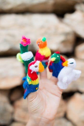 Hand knitted bird finger puppets