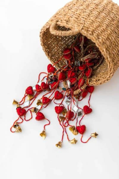 Garland of red hearts with mirrors and bells