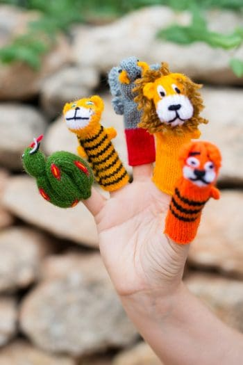 colourful hand knitted puppets