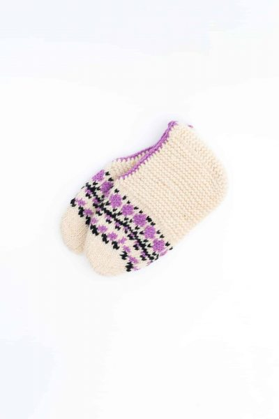 wool socks in a cream colour with purple and black detail