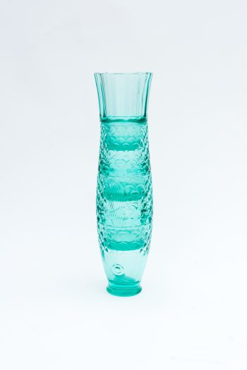 stacked turquoise drinking glasses to form the shape of a fish