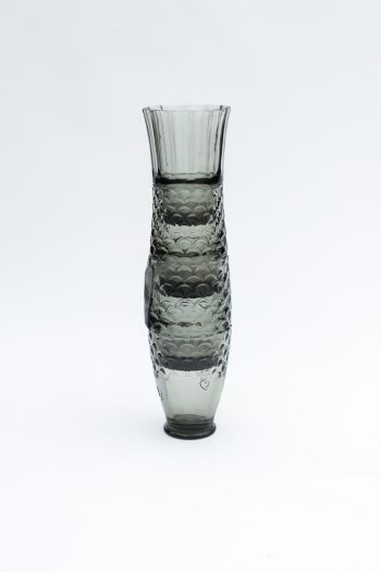 stacked grey drinking glasses to form the shape of a fish