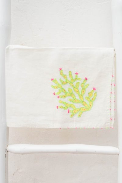 cactus tea towel with French Knotting