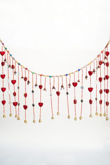 Hanging garland with red hearts