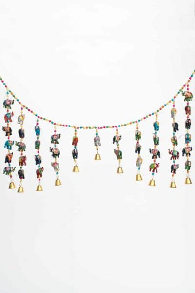Hanging garland with wooden elephants and bells on it
