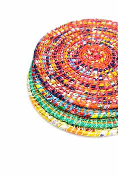 multicoloured recycled plastic placemats