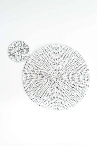 silver plastic recycled coaster and placemat