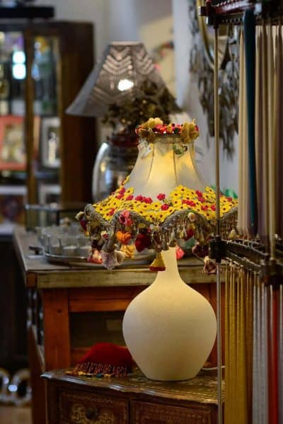 Hand decorated lamp with yellow flowers